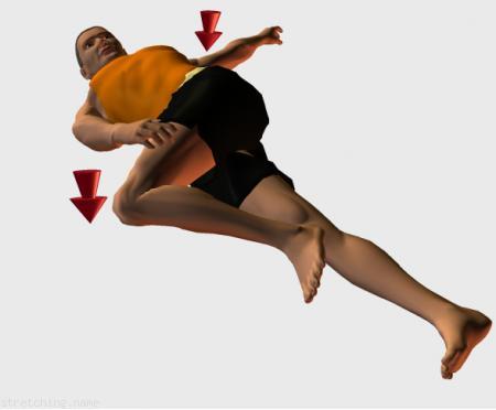 Estiramiento cadera, gluteos (stretching, streching) recomendado para:   atletismo,  senderismo, correr,  piernas.